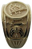 Masonic Past Master PM ring with Shrine crescent and scimitar