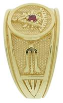 Past Master ring with plumb & trowel and featuring a gemstone of your choice center set in the square and compass.