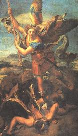 Saint Michael with sword ready to thrust it through one of Satan's angels.