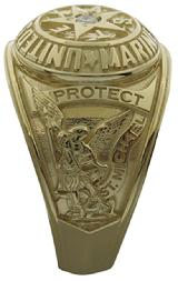 United States Marine Corp ring with St. Michael in yellow gold with diamond