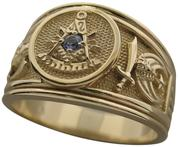 Past Master ring with 32nd degree double headed eagle SRSJ and the crescent & scimitar of the Shrine shown with an optional American Montana mined blue sapphire instead of the Sun (standard)..