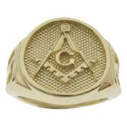 Our original design in an enhanced cigar band style Masonic ring for the Master Mason in 14k gold