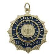 Custom New Jersey Transit Police Lieutenant badge pendant in 10k yellow gold with blue enamel.