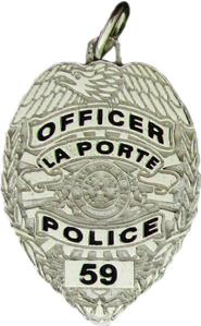custom 2d sterling silver, 10k or 14k white gold police mini-badge jewelry charm in design of La Porte Police Department Officer badge