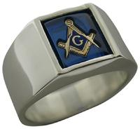 Smooth side Masonic ring with cushion cut 10x8mm Masonic stone with square & compass