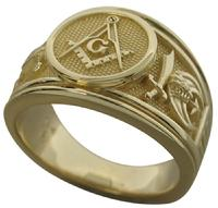 32nd degree Scottish Rite Masonic ring with Shrine crescent and scimitar and Scottish Rite double headed eagle