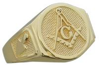 side view of Masonic ring showing trowel