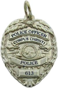 custom 3d sculpted sterling silver, 10k or 14k white gold police mini-badge charm in design of Corpus Christi Police Officer badge
