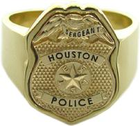 Houston Police Sergeant badge ring with custom badge top in yellow gold
