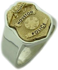Houston Police Sergeant badge ring with custom badge top in two tone gold