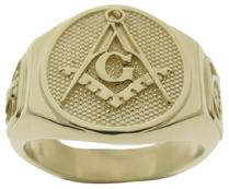 Master Mason 3rd degree ring with Knights Templar crown & cross and Scottish Rite 32nd degree double eagle