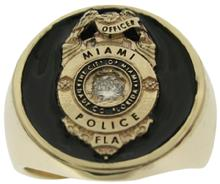 Miami FL Police Officer badge ring in yellow gold and diamond