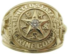 United States Marine Corp ring in yellow gold and diamond