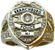 Branchburg NJ Police Officer badge ring with diamonds