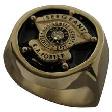 Montgomery County TX Sheriff Sergeant badge ring in yellow gold with diamond