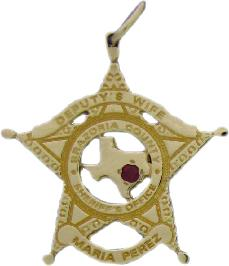 5e1742c1076 14k yellow gold custom mini-badge jewelry pendant with faceted Ruby; 5  point star