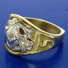 Two tone 14k yellow and white gold 32nd degree Scottish Rite Mason's ring with square and compass and letter G, 32, and Yod