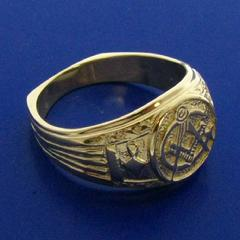 10k yellow gold man's 3rd Degree Masonic ring