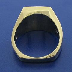 3RD DEGREE MASONIC RING, BOTTOM VIEW SHOWING SQUARE, HEAVY SHANK AND SOLID BACK