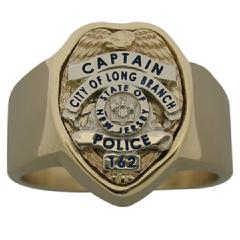 Long Branch Police Captain badge ring in yellow and white gold