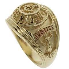 Custom Masonic Peace Officer's ring in 14k yellow gold.