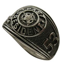 Custom FOP Past President's ring in sterling silver with antiqued background.