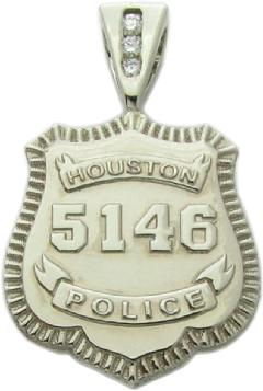 Custom police and fire fine jewelry 3d badge pendants custom houston police officer shield with badge number and optional 3 diamond channel set pendant aloadofball Images