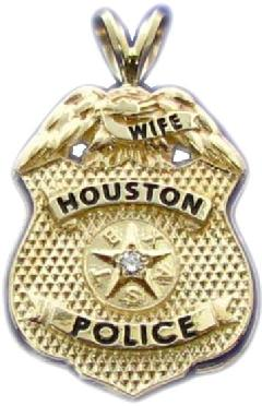 Custom police and fire fine jewelry 3d badge pendants custom 3d sculpted 14k gold houston police sergeants wife mini badge pendant with diamond mozeypictures Choice Image