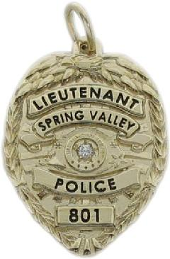 Custom police and fire fine jewelry 3d badge pendants custom 3d sculpted eagle top 14k yellow gold spring valley police lieutenant mini badge pendant aloadofball Image collections