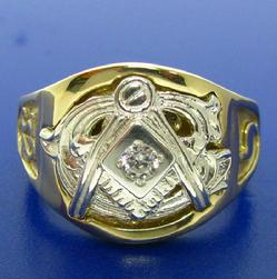 Two tone 14k yellow and white gold man's 32nd degree Scottish Rite Mason's ring with .10 ct. diamond, square and compass with letter G