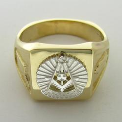 14K YELLOW GOLD MASONIC PAST MASTER RING JEWELRY WITH 14K WHITE GOLD PAST MASTER EMBLEM