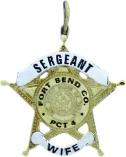 custom 2d sterling silver, 10k or 14k yellow gold mini-badge charm in design of Fort Bend County Constable Sergeant badge