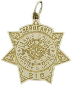 custom 2d gold plated sterling silver, 10k or 14k yellow gold mini-badge jewelry charm in design of Harris County Sheriff Sergeant badge