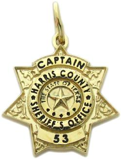 custom 3d sculpted sterling silver, 10k or 14k white gold mini-badge charm in design of Harris County Sheriff Deputy badge