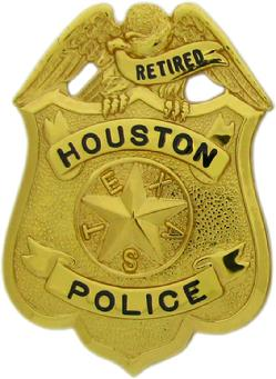 gold plated Houston Police Supervisor's badge with Retired in the top ribbon