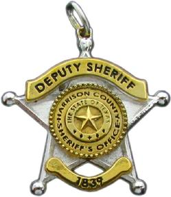 custom 3d sterling silver, 10k or 14k white gold mini-badge jewelry charm in design of Harrison County Sheriff Deputy badge