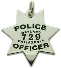 Custom police and fire fine jewelry 3d badge pendants custom 3d sterling silver oakland police officer mini badge pendant or charm mozeypictures Choice Image