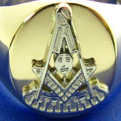 Past Master Masonic ring in yellow and white gold