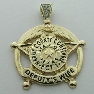 Custom 14k yellow gold Harris County Precinct 1 Deputy Constable's mini-badge pendant with optional 7-diamond bead set bail