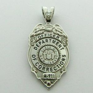 Custom 14k white gold New Jersey Department of Corrections Officer mini-badge pendant with optional 1 diamond pendant bail