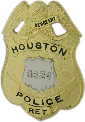 Two tone Houston Police Sergeant badge with Officer's badge as center seal and with optional Retired panel