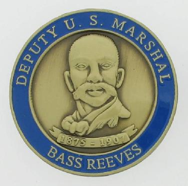 Deputy U. S. Marshal Bass Reeves commemorative brass coin with antique bronze finish and 3d relief bust