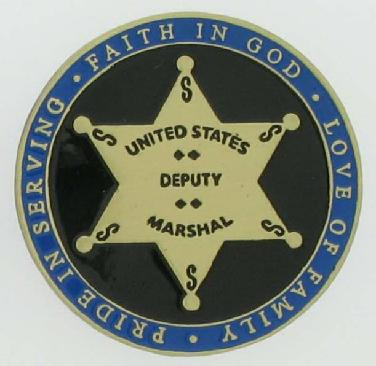 Deputy U. S. Marshal Bass Reeves commemorative brass die struck coin with 6 point star badge and enamel finish