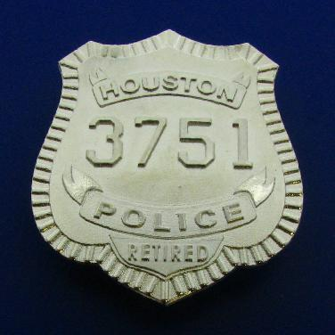 Custom sterling silver raised text, wallet size HPD Officer badge with pin & catch attachment