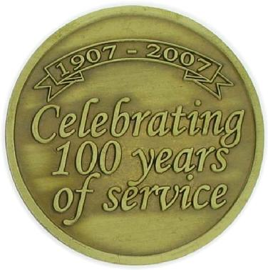 100th anniversary commemorative coin struck for the Osborne Insurance Agency-reverse side