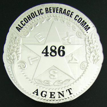 sterling silver custom round Texas Alcoholic Beverage Commission TABC badge with pin & catch attachment and black text