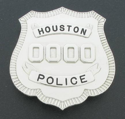 Rhodium plated brass Houston Police Department officers badge with pin and catch attchment fully customizable