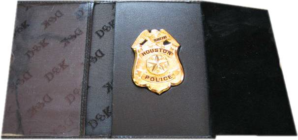 leather wallet badge identification ID case houston police sergeant wallet sized badge