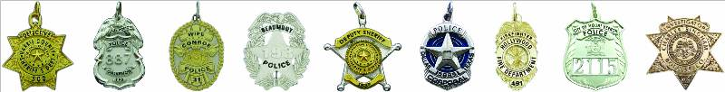 STERLING SILVER, 10K OR 14K GOLD POLICE & FIRE BADGE JEWELRY CHARMS
