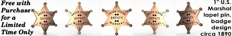 Deputy U.S. Marshal badge pin, circa 1890